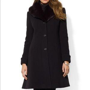 Ralph Lauren fur collar wool coat